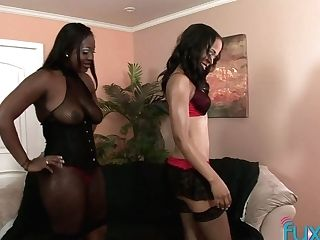 Two Dark-hued Hookers Are Fucking Each Others Black Twats With...