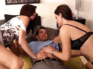 Two Sapphic Brunettes Entice A Hot Boy For Excellent Threesome!
